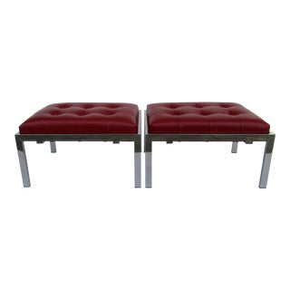 C.1970's Milo Baughman Chrome Benches With Leather Textile - a Pair For Sale
