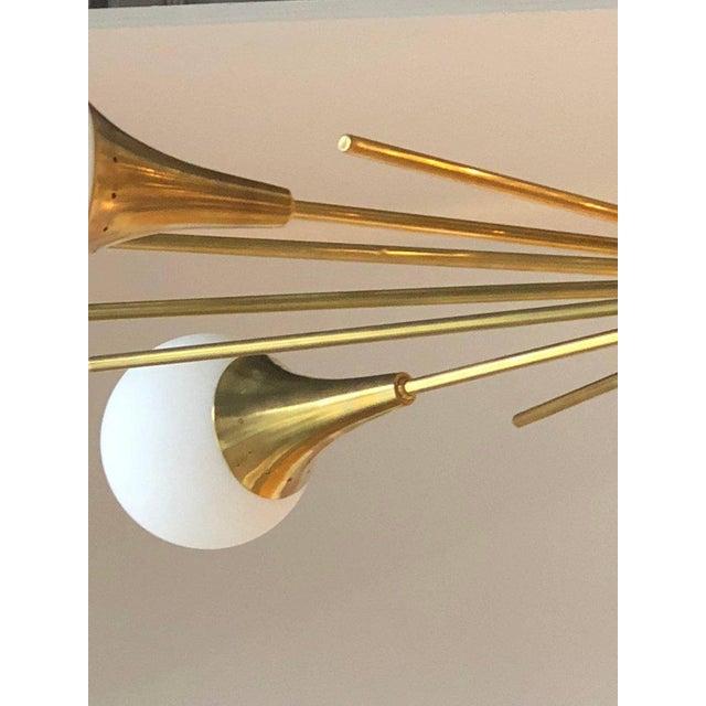Mid-Century Modern Italian Stilnovo Style Brass & White Glass Sputnik Chandelier 1960s For Sale - Image 10 of 12
