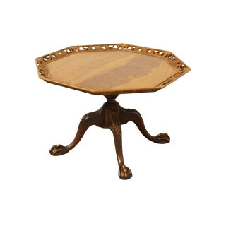 20th Century Traditional Imperial Furniture Solid Mahogany Octagonal Accent Table For Sale