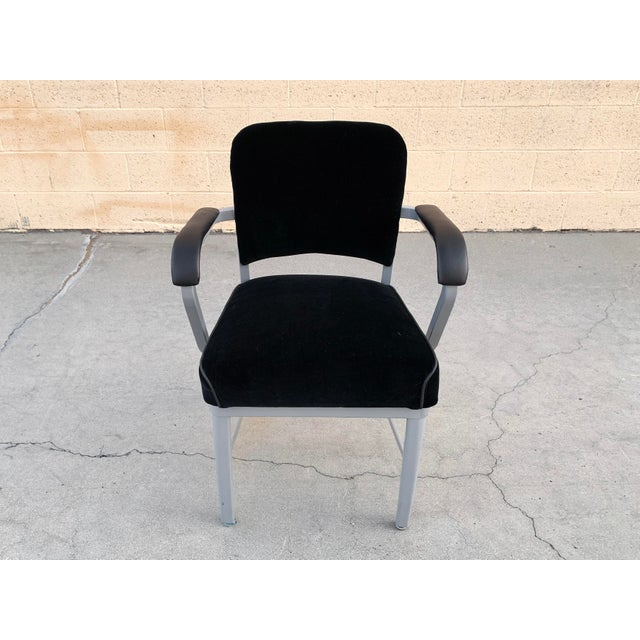 Classic mid-century steel tanker armchair refinished in metallic silver powder-coated frame (Bengal Silver) and...