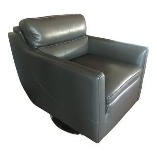 Mid-Century Modern Dark Gray Swivel Side Chair