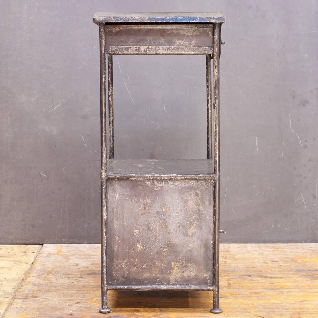 Industrial Alms Petite Industrial Steel and Slate Bedside Table With Cabinet For Sale - Image 4 of 7