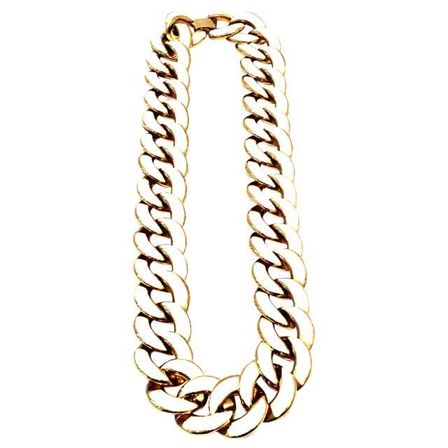 20th Century Les Bernard Gold & Enamel Chain Link Choker Necklace For Sale