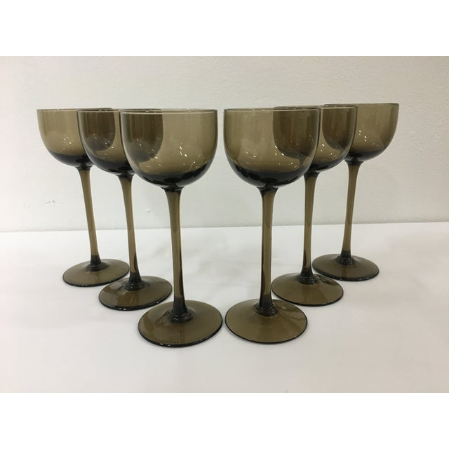 Vintage Warm Gray Smoked Glass Liqueur Goblets by Carlo Moretti - Set of 6 For Sale - Image 9 of 9