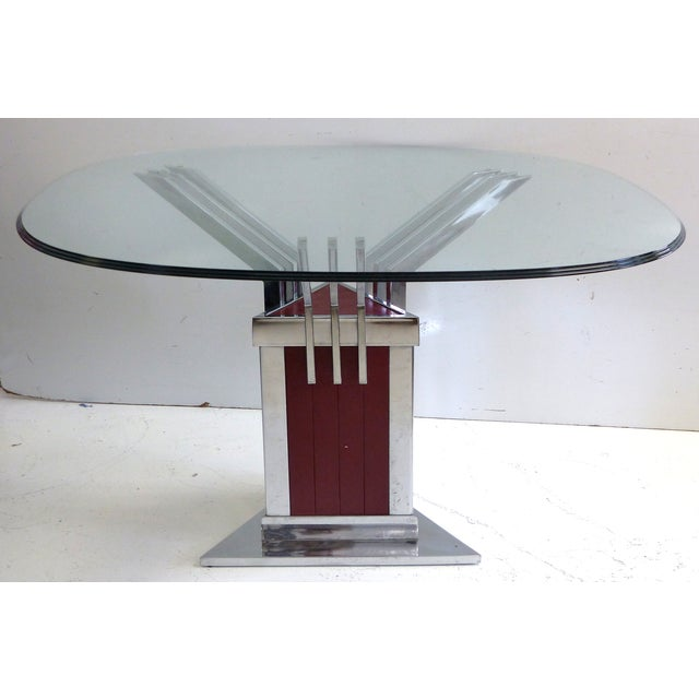 Angled Chrome & Lacquered Dining Table - Image 2 of 7