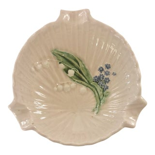 Mid 20th Century German Majolica Dish With Lily of the Valley For Sale