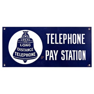 Porcelain Telephone Sign For Sale