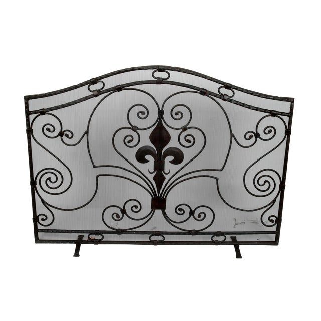 Handmade Wrought Iron Fireplace Screen For Sale