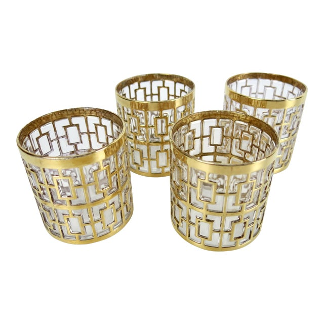 "Set of 4 Rare 2.75"" Imperial Glass 24k Gold Shoji Cocktail Glasses - Image 1 of 7"