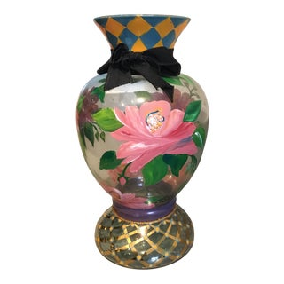 Mackenzie Childs Hand Painted Alma Vase For Sale