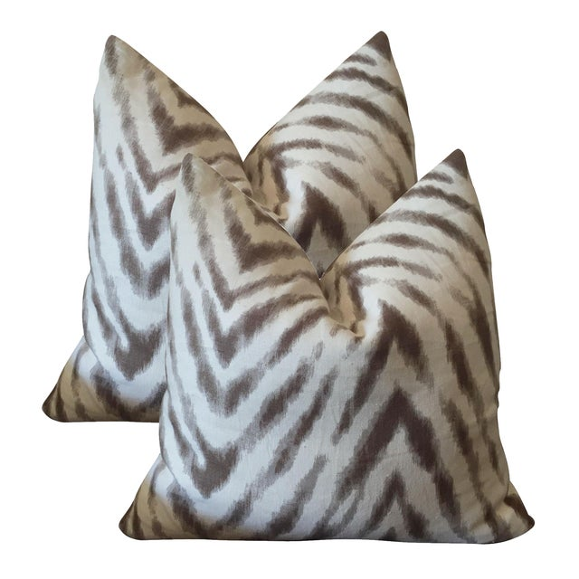 Barclay Butera Brown & White Zebra Pillows - Pair - Image 1 of 6