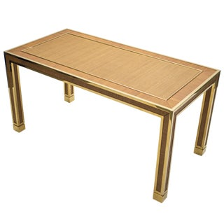 Mid Century Brass and Bamboo Dining Table Style of Gabriella Crespi, 1970s For Sale