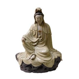 Handmade Clay Sitting Kwan Yin Bodhisattva Statue