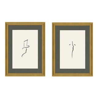 Alexander & Beloved Diptych by Katerina Christina in Gold Frame, Small Art Print For Sale