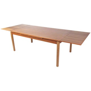 Mid-Century Modern Teak Dining Table With Draw Leaf Extension For Sale