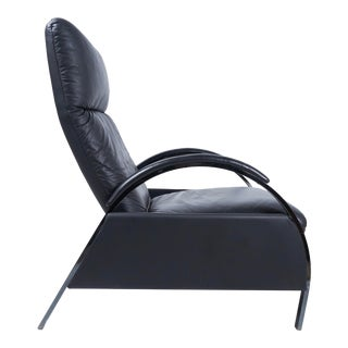 George Mullhauser for Dia Leather & Black Chrome Recliner For Sale