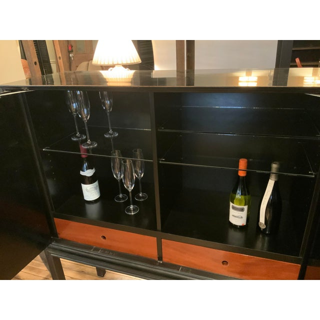 1940s 1940s Tommi Parzinger Lacquered Leather Bar Cabinet For Sale - Image 5 of 11