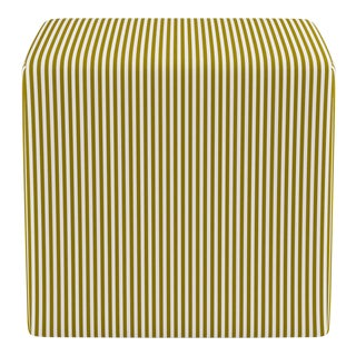 Cube Ottoman in Gold Ticking Stripe For Sale