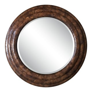 Late 20th Century Maitland-Smith Tobacco Leaf Framed Mirror For Sale