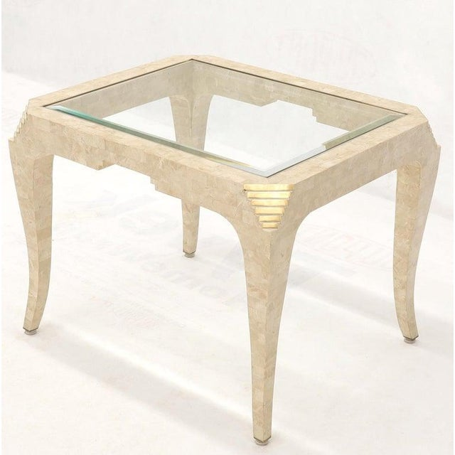 Hollywood Regency Tessellated Stone Brass Inlay Rectangular Side End Table Glass Top For Sale - Image 3 of 12