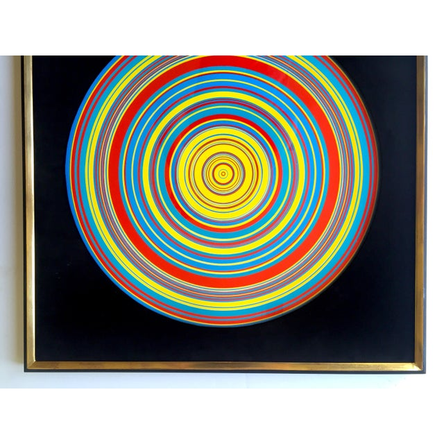 """Abstract """" Tadasky """" Tadasuke Kuwayama Rare Vintage 1968 Mid Century Modern Framed Op Art Lithograph Print """" Whirling Circles """" For Sale - Image 3 of 13"""
