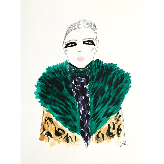 """2010s 2010s Original Watercolor Illustration, """"Green Fur, Black Eyes"""" by Carly Kuhn For Sale - Image 5 of 5"""