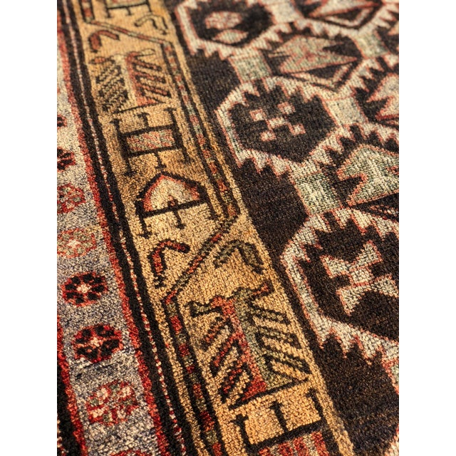 1950s Vintage Persian Meshkin Runner Rug - 3′10″ × 13′2″ For Sale - Image 11 of 13