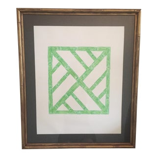 Palm Beach Regency Faux Bamboo Framed Trellis Art For Sale