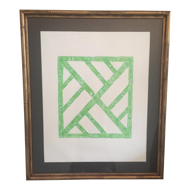 Palm Beach Regency Faux Bamboo Framed Trellis Art For Sale