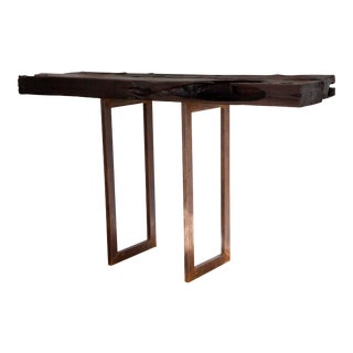 Artisan Natural Edge Yakisugi Console Table Balcony Bar Sofa Table For Sale