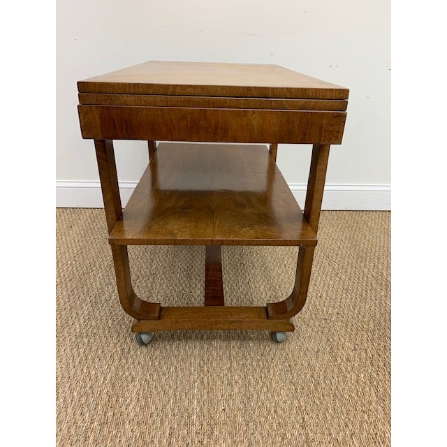 Tan American Deco Side Table With Pivoting Fold-Out Top For Sale - Image 8 of 10