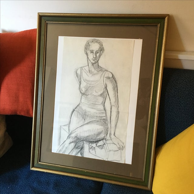 Framed Vintage Drawing of a Woman - Image 3 of 7