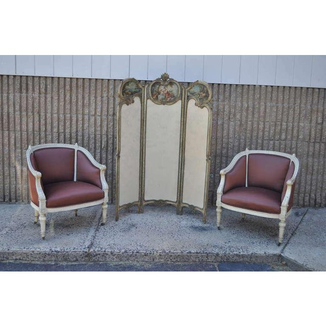 Tan 19th Century French Louis XV Style Hand Painted & Carved Petite Dressing Screen For Sale - Image 8 of 10