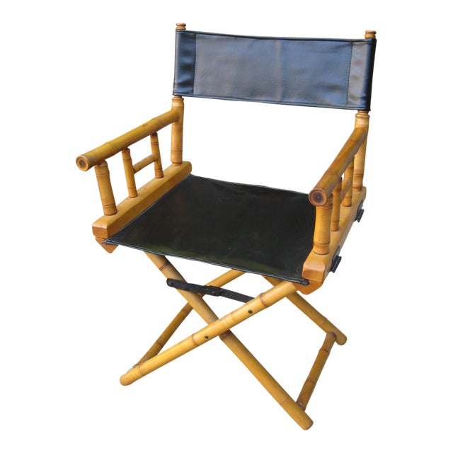 1960s Vintage Bamboo & Leather Folding Director's Chair For Sale