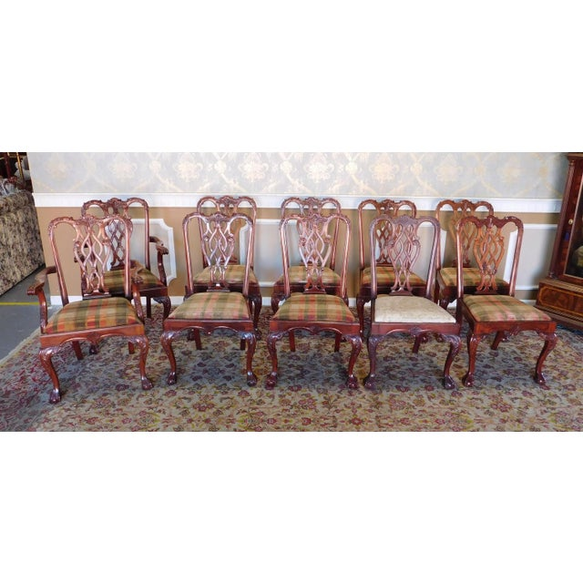 1990s Reproduction Solid Mahogany Chippendale Style Dining Chairs - Set of 10 For Sale - Image 11 of 11