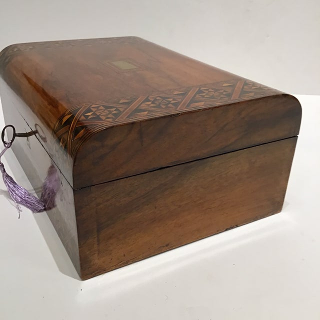 This is beautiful english rosewood box it has been french polished and the interior refitted would be on a dresser are...