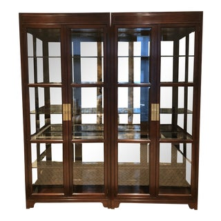 Campaign Style Display Cabinets - a Pair For Sale