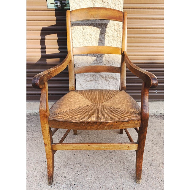 Mid 19th Century French Walnut Rush Seat Armchair For Sale - Image 13 of 13