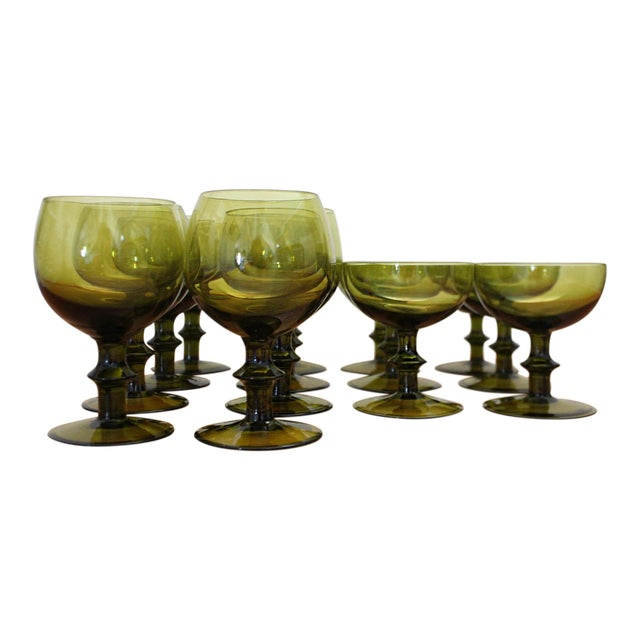 1960s Mid-Century Modern Olive Green Goblets by Hoffman House Set - 14 Pieces For Sale