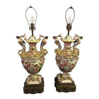 Monumental Capodimonte Lamps - a Pair For Sale