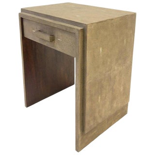 1990s French Shagreen and Mahogany Side Table by R & Y Augousti For Sale