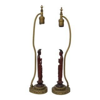 1920s Art Deci Quan Yin Table Lamps - a Pair