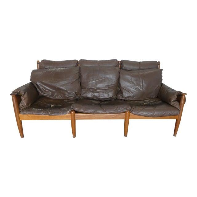 Mid Century Modern Leather and Teak Danish Modern Sofa | Chairish