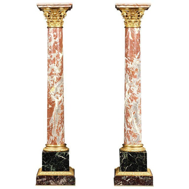 19th Century Marble and Bronze French Pedestals For Sale - Image 4 of 4
