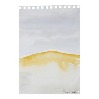 """Desert Hill Horizon"" Abstracted Landscape Gouache on Paper Painting For Sale"