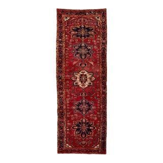 Semi Antique Persian Heriz Tribal Design Runner For Sale