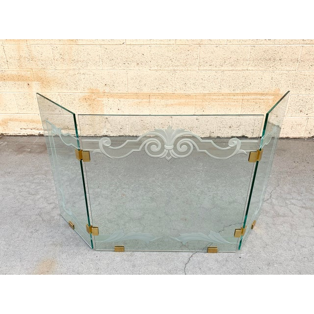 Contemporary Glass Fireplace Screen With Brass Hinges by Danny Alessandro, Custom Etching For Sale - Image 3 of 8
