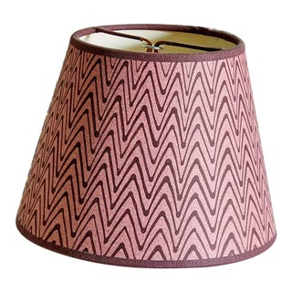 Rita Konig Exclusive Hand Painted Lampshade in Puce Zig Zag For Sale