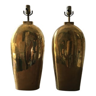 1980s Chapman Solid Brass Sculptural Vase Lamps - a Pair For Sale