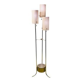 Lightolier Modernist Brass and White Floor Lamp For Sale